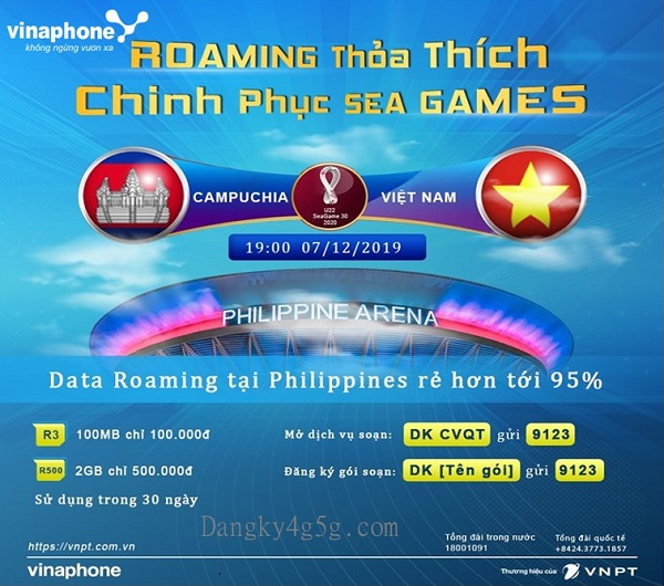 Vinaphone mien phi data roaming cho khach hang tu philipines co vu bong da